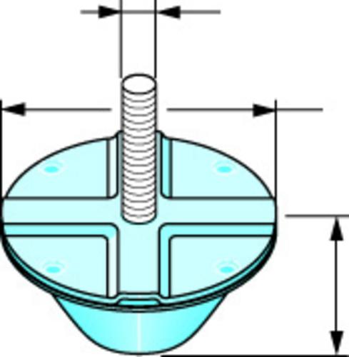 Antivibratile Placostil®   Accessoire de suspension résilient monté sur plot caoutchouc améliorant les performances acoustiques des plafonds