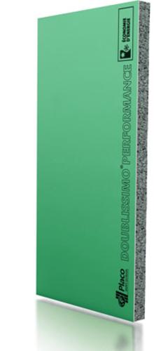 Doublissimo® Performance Marine 2.55 13+80 | Complexe de doublage constitué d'un panneau isolant en polystyrène expansé (PSE) graphité et élastifié, associé à une plaque de plâtre Placo®. Parement plaque Placomarine® BA13, à haute résistance à l'humidité.
