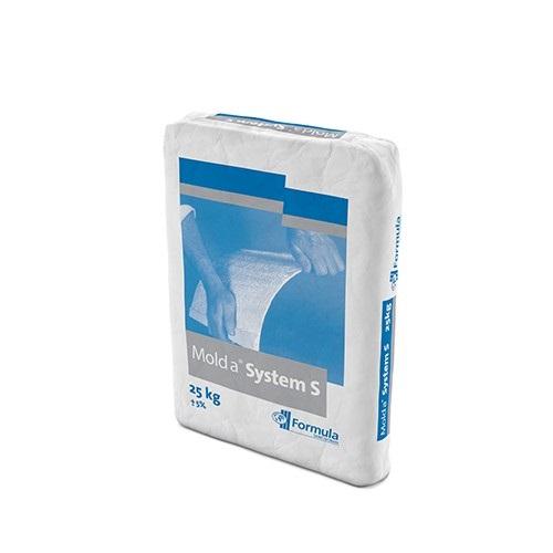 Molda® System S 25kg | Molda System S est un plâtre semi-hydrate hautes performances formulé (CaSO4.1/2H2O) produit à partir de gypse naturel haute pureté. Il est de couleur blanc cassé. Conçu pour fabrication d'éléments en satff à haute dureté<br/>G.R.G, Coulage d'éléments décoratifs en satff