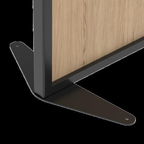 Placo® Modulo Vision - Bois - Profilé Noir - 1000x1800 mm | Piètement fixe noir Placo Modulo pour cloisonnette bois