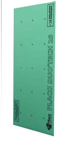 Placo® Duo'Tech® 25 Marine | Plaque de plâtre hydrofugée composée de deux parements spécifiques de 13 mm et d'un film acoustique, permettant d'atteindre des performances acoustiques exceptionnelles.