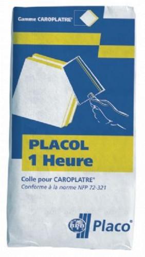 Placol® 1 Heure 25kg | Colle à carreaux de plâtre standards ou alvéolés. Durée d'utilisation : 1 heure. Consommation : 1,1 à 2,5 kg / m² (selon l'épaisseur des carreaux). Conditionnement en sac de 25 kg.