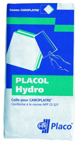 Placol Hydro 25kg | Colle à carreaux de plâtre hydrofugés. Durée d'utilisation : 1 heure 30. Consommation : 1,1 à 2,5 kg / m² (selon l'épaisseur des carreaux). Conditionnement en sac de 25 kg.