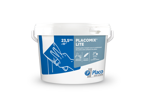 Placomix® Lite 17L | Enduit à séchage prêt à l'emploi semi-allégé permettant le traitement manuel ou mécanique des joints. Le redoublement des joints se fait après durcissement complet de l'enduit et dépend essentiellement des conditions climatiques (12 à 48 heures).