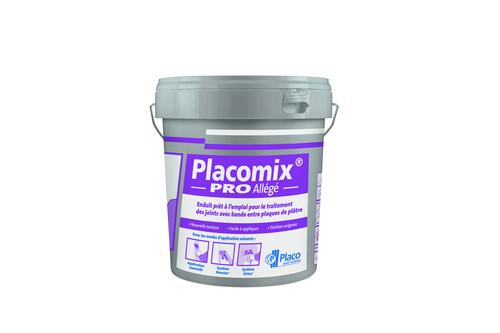 Placomix® PRO Allégé   Enduit à séchage prêt à l'emploi permettant le traitement manuel ou mécanique des joints. Le redoublement des joints se fait après durcissement complet de l'enduit et dépend essentiellement des conditions climatiques (12 à 48 heures).