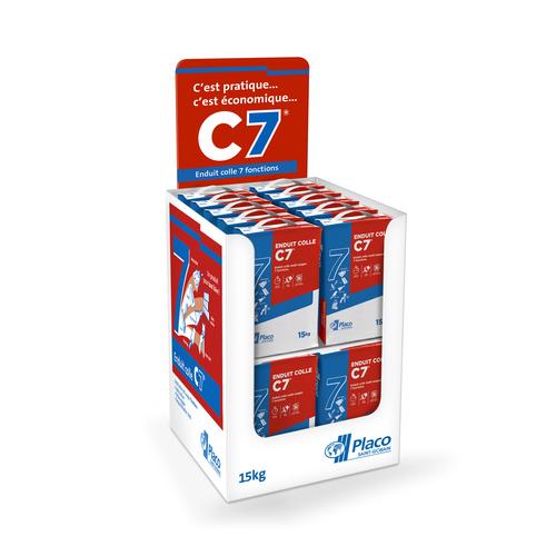 Enduit Colle C7® multi-usages 15 kg | L'enduit colle multi-usage C7® est un enduit en poudre formulé à base de plâtre et de divers ajouts. La pâte obtenue, de couleur blanche, permet de réaliser tout type de travaux.