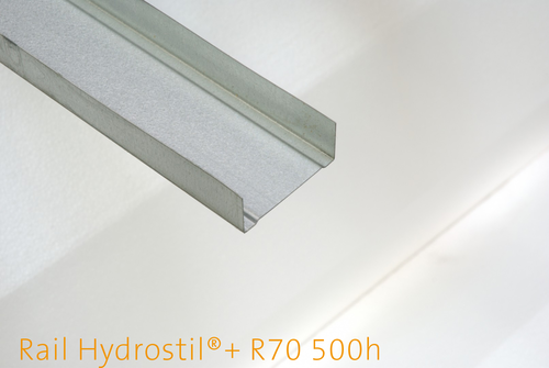 Rail Hydrostil®+ R70 500h | Rails de hauteur 70 mm pour cloisons, doublages et plafonds. Acier d'épaisseur 0,53 mm. Très haute résistance à l'humidité.