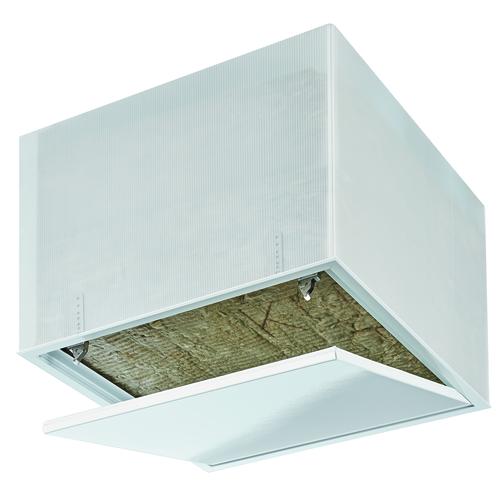 Trappe Isolante et Etanche à l'air 500x500 mm | Trappe Isolante et Étanche à l'air pour plafonds constituée de 2 x 160 mm de laine minérale (R > 8 m².K/W), d'un joint plastique périphérique de couleur blanche pour garantir l'étanchéité à l'air (Classe 4)