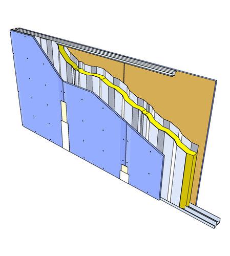 Paroi C Stil® 100 - 1 x Placoplatre® BA 18S - 5'-50 - EI 60 - 2,65m