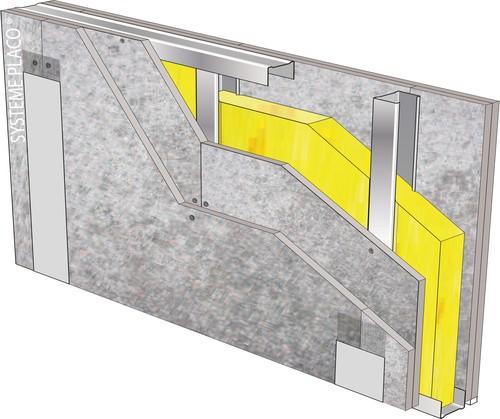Cloison 98/48 - 2 x Aquaroc® 13 - EI 90 - 49dB - 3,25m