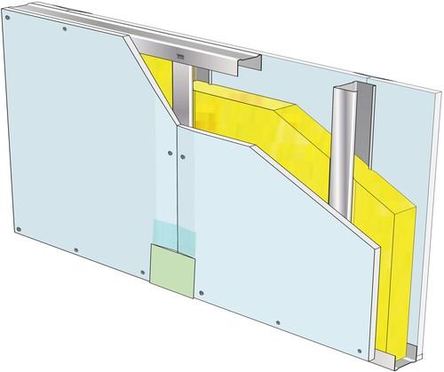 Cloison 98/62 - 1 x Glasroc® H Ocean - EI 60 - 47dB - 4,05m