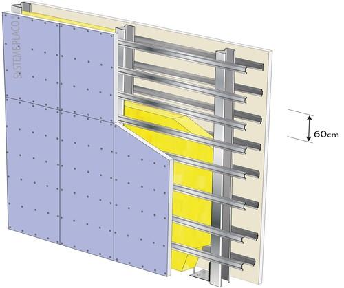 Cloison Megastil® 220/100 - 2 x Placoplatre® BA 13 - EI 60 - 64dB - 6,85m