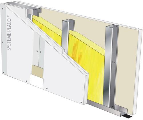Cloison Placostil® SAA 160 - 2xPlacoplatre® BA 13 Activ'Air® - EI 60 - 62dB - 4,50m