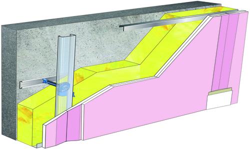 Doublage Placostil® sur appuis et fourrures - support béton 16cm - 2x Placoflam® BA15 - 5,3m