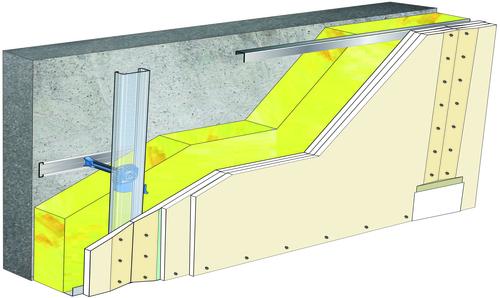 Doublage Placostil® sur appuis et fourrures - support béton 16cm - 3x Placoplatre® BA13 - 5,3m