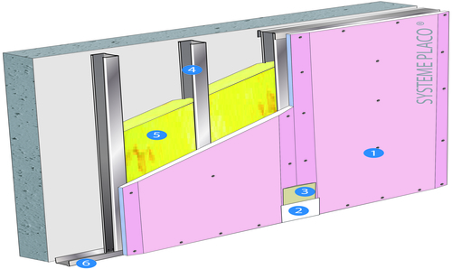 Doublage Placostil® sur montants - support béton 16cm - 1x Placoflam® BA13 - 2,5m