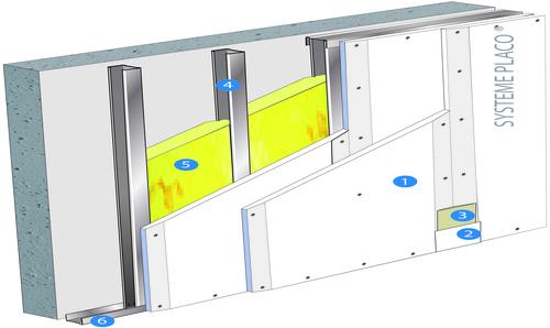Doublage Placostil® sur montants - support béton 16cm - 2 x Placoplatre® BA13 Activ'Air® - 2,1m