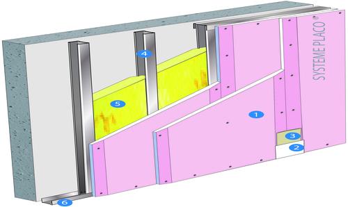 Doublage Placostil® sur montants - support béton 16cm - 2 x Placoflam® BA13 - 2,3m