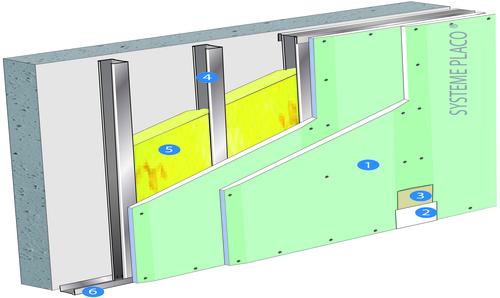 Doublage Placostil® sur montants - support béton 16cm - 2 x Placomarine® BA 13 - 3,5m