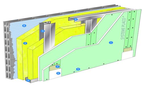 Doublage Placostil® sur montants - support parpaing creux 20 cm - 2x Placomarine® BA 13 - 2,45m