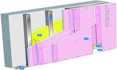 Doublage Placostil® sur montants - support béton 16cm - 3 x Placoflam® BA13 - 4,85m
