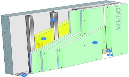 Doublage Placostil® sur montants - support béton 16cm - 3 x Placomarine® BA 13 - 3,85m