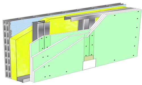 Doublage Placostil® sur montants - support parpaing creux 20 cm - 3x Placomarine® BA 13 - 2,6m