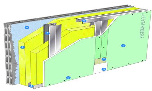 Doublage Placostil® sur montants - support parpaing creux 20 cm - 1x Placomarine® BA 13 - 1,9m