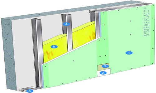 Doublage Placostil® sur montants - support béton 16cm - 1x Placoplatre® BA18S Marine - 2,6m
