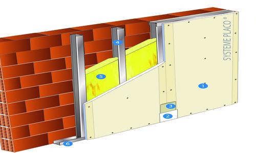Doublage Placostil® sur montants - support béton 16cm - 1 x Placoplatre® BA13 - 2,5m
