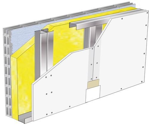 Doublage Placostil® sur montants - support parpaing creux 20 cm - 1x Placoplatre® BA25 - 2,75m
