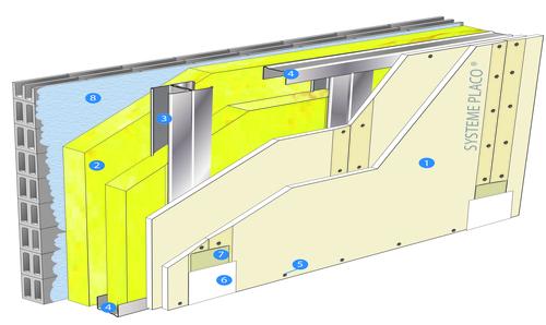 Doublage Placostil® sur montants - support parpaing creux 20 cm - 2x Placoplatre® BA13 - 2,95m