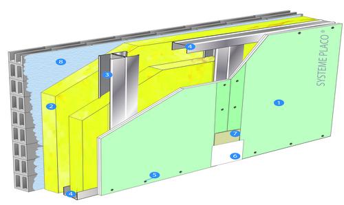 Doublage Placostil® sur montants - support parpaing creux 20 cm - 1x Placo® Duo'Tech® 25 Marine - 2,55m