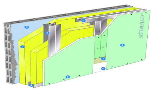 Doublage Placostil® sur montants - support parpaing creux 20 cm - 1x Placoplatre® BA18S Marine - 3m