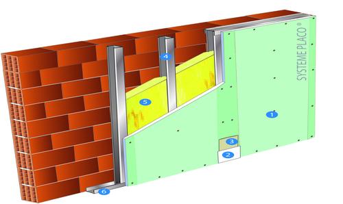 Doublage Placostil® sur montants - support brique isolante 20cm - 1x Placoplatre® BA25 Marine - 2,75m