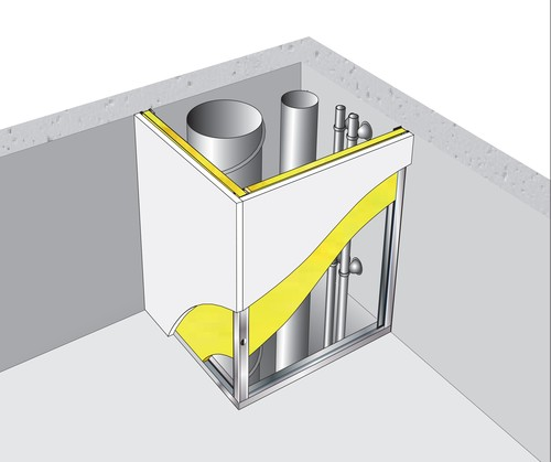 Gaine technique verticale Placostil® - 1x BA25 - 4m - EI90 coupe feu de traversée