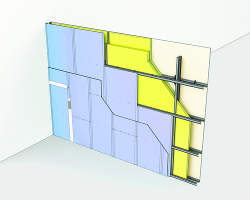 Cloison Cinéstil® 3D / 350 - Duo'Tech® 25 + Placo® Phonique BA13 - 9,35m - entr. 2,40m