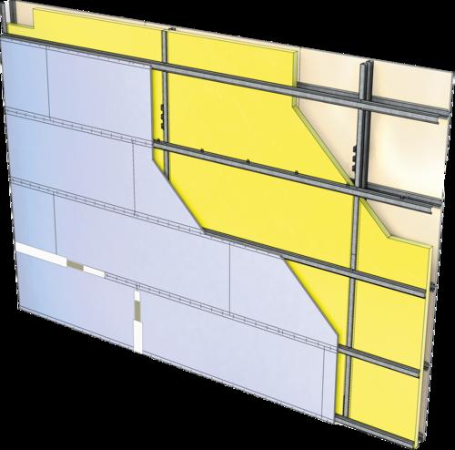 Cloison Cinéstil® 3D / 445 - Duo'Tech® 25 + Placo® Phonique BA13 - 12,85m - entr. 1,80m