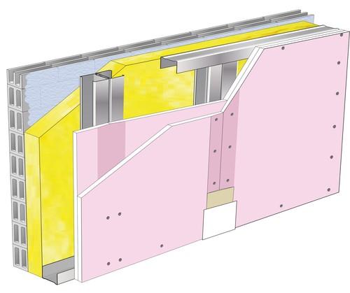 Doublage Placostil® sur montants - support parpaing creux 20 cm - 2x Placoflam® BA13 - 4,05m
