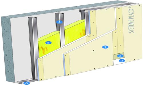 Doublage Placostil® sur montants - support béton 16cm - 2 x Placoplatre® BA13 - 2,95m