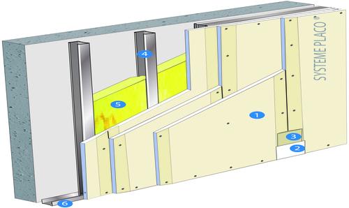 Doublage Placostil® sur montants - support béton 16cm - 3 x Placoplatre® BA13 - 4,55m