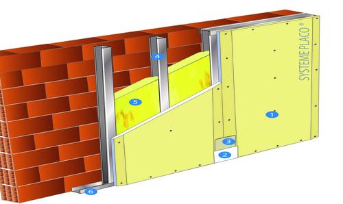 Doublage Placostil® sur montants - support béton 16cm - 1x Placoplatre® BA18S - 3,6m