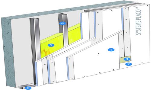 Doublage Placostil® sur montants - support béton 16cm - 3 x Placoplatre® BA13 Activ'Air® - 2,6m