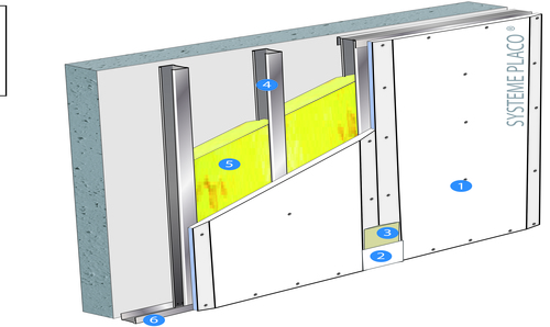 Doublage Placostil® sur montants - support béton 16cm - 1x Placoplatre® BA18S THD Activ'Air® - 2,6m