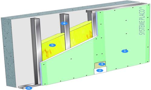 Doublage Placostil® sur montants - support béton 16cm - 1x Placoplatre® BA18S Marine - 3,1m