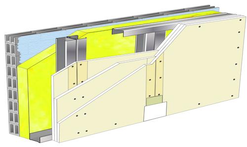 Doublage Placostil® sur montants - support parpaing creux 20 cm - 3x Placoplatre® BA13 - 2,35m