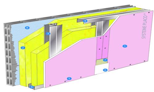 Doublage Placostil® sur montants - support parpaing creux 20 cm - 1x Placoflam® BA13 - 2,1m