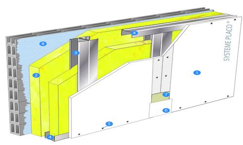 Doublage Placostil® sur montants - support parpaing creux 20 cm - 1x Placoplatre® BA13 Activ'Air® - 3,3m