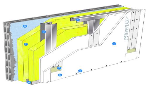 Doublage Placostil® sur montants - support parpaing creux 20 cm - 2x Placoplatre® BA13 Activ'Air® - 3,4m