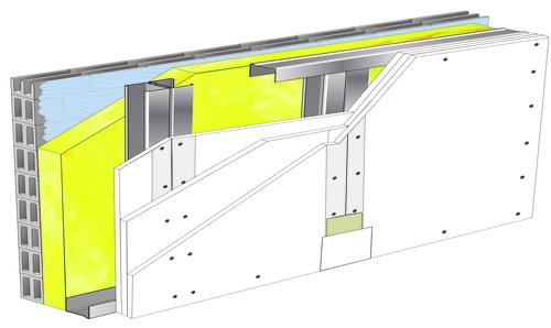 Doublage Placostil® sur montants - support parpaing creux 20 cm - 3x Placoplatre® BA13 Activ'Air® - 4,55m